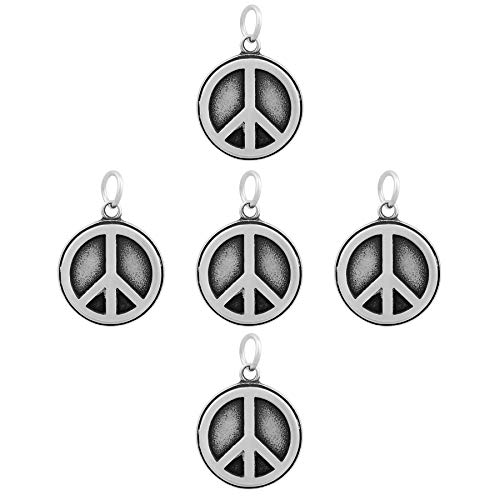 Flat Round with Peace Sign Design Tibetan Style Antique Silver 316 Stainless Steel - Peace Pendant Flat Sign