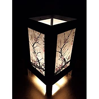 Asian Oriental Japanese Cherry Blossom Tree Art Bedside Desk Table Lamp 8