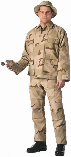 Tri Color Desert Camouflage Fatigue - Camouflage Military BDU Pants, Army Cargo Fatigues (Tri-Color Desert Camouflage, Size Large)