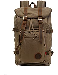 Volyer Canvas Rucksack Leather Hiking Travel Backpack School Bag