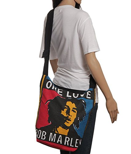 Buddha4all Black Bob Marley Cotton Bag Shopping bag shoulder handbags (Two Sides) Size: 12.2