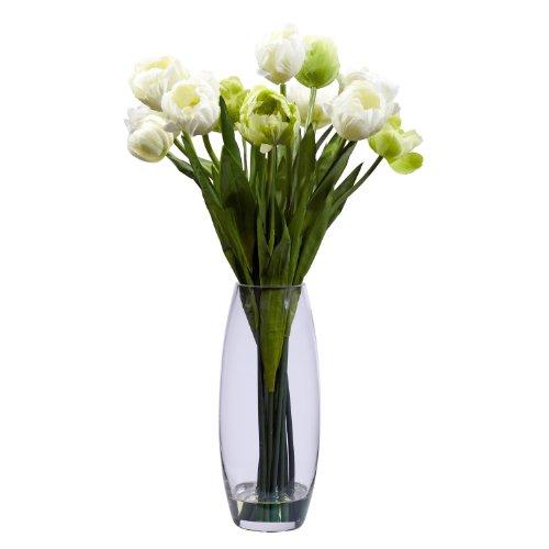 Nearly-Natural-4792-Tulip-with-Vase-Silk-Flower-Arrangement-CreamGreen