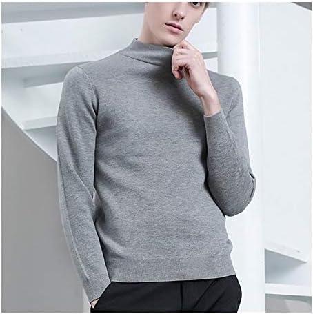 QYXJJ メンズ長袖分厚い冬の暖かいニットプルオーバーラウンドネックセーター冬のカジュアルハイカラープルオーバーセーター無地SweaterShirt (Color : Gray, Size : M)