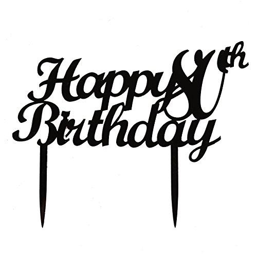 Happy 80th Birthday Cake Topper, Black Color Acrylic