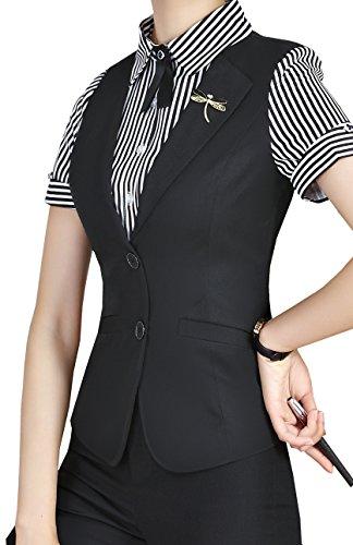 Vocni Women False Two Pieces V-Neck Business Formal Slim Fit Waistcoat Suit Vest,Black,Tag XL-US Small by Vocni