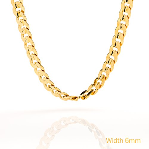 [Best Cuban Link Chain 6MM Round, Fashion Jewelry Necklaces Made of Real 24K Gold on Semi-Precious Metals, Thick Layers Make it Tarnish Resistant, 100% FREE LIFETIME REPLACEMENT GUARANTEE, 22] (Hip Hop Group Costumes)