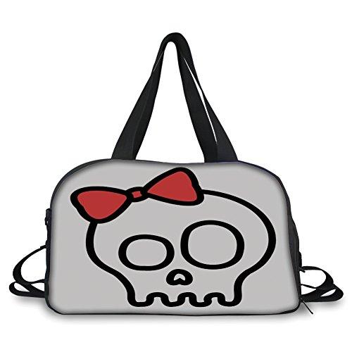 (iPrint Travel Handbag,Skull,Illustration of Baby Skull Girl with Lace and Halloween Dead Head Teen Emo Art,Red White Black)
