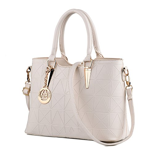 LIZHIGU Womens Leather Shoulder Bag Tote Purse Fashion Top Handle Satchel Handbags Beige White