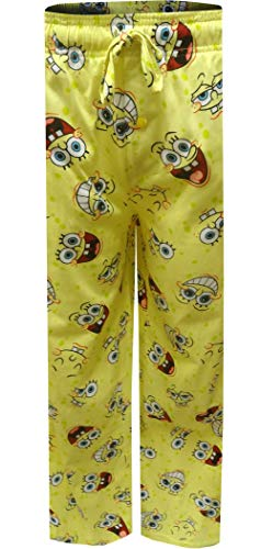 Mad Engine Men's Nickelodeon Spongebob Happy Faces Lounge Pants (Medium) Light Yellow