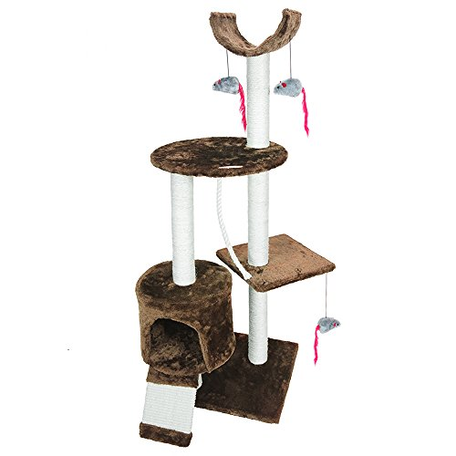 PET-PALACE-Cat-Tree-Kitten-Activity-Tower-Condo-with-Perches-Scratching-Posts-and-Squeaking-Mice-APL1342-Brown