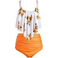 Swimsuits for Women Bathing Suits Flounced Top with Bottom Tankini Swim Suits 2 Piece Swimwear Sets