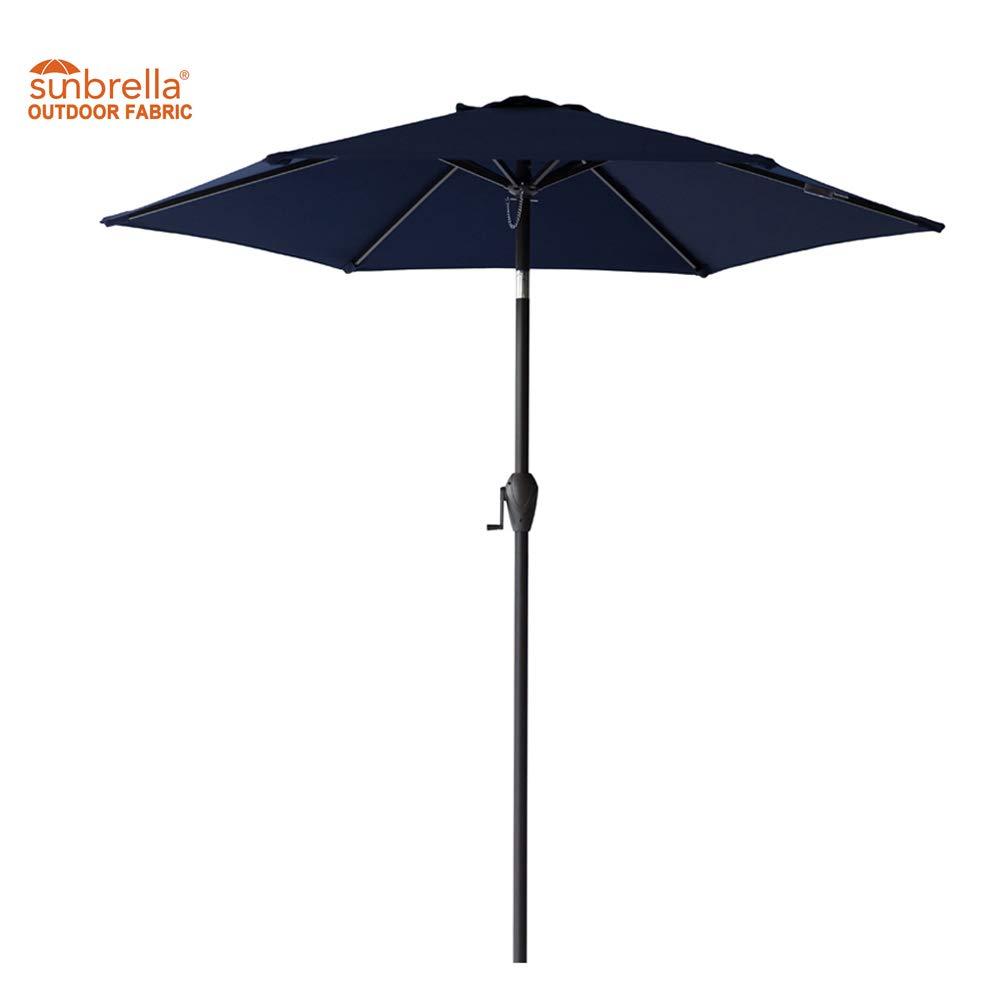 FLAME&SHADE Sunbrella 7ft 6in Patio Sun Shade Market Garden Umbrella Crank Lift Push Button Tilt Fade Resistant Navy Blue