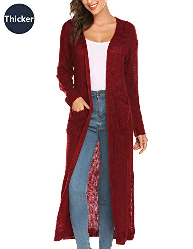 (Lady Sweater Long Sleeve V Neck Open Front Cardigan Coat Slit Cable Knit Mid Long Cardigan Sweater)