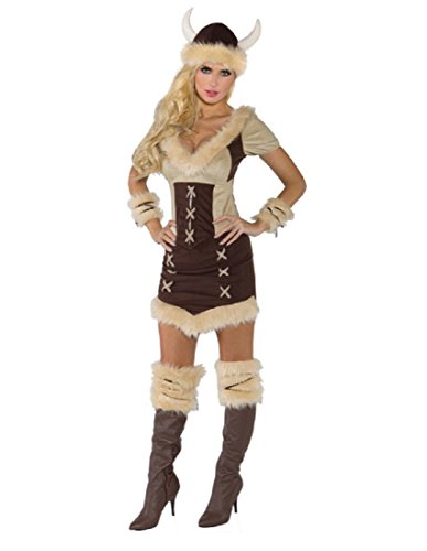 [Underwraps Costumes Women's Viking Queen Costume, Brown/Tan, Small] (Woman Thor Costume)
