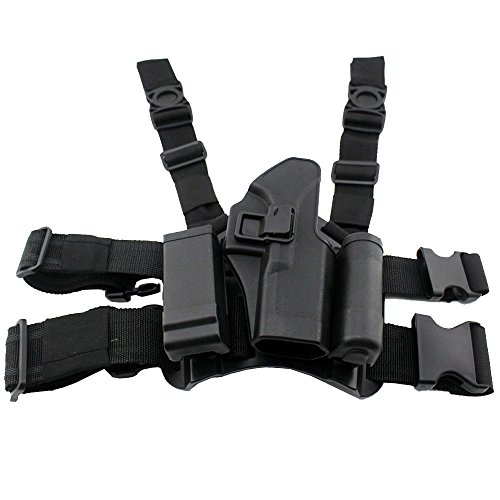JINJULI Tactical Gun Right Hand Holster Drop Thigh Leg Pistol Holster for Glock 17 19 22 23 31 Drop Down Holster