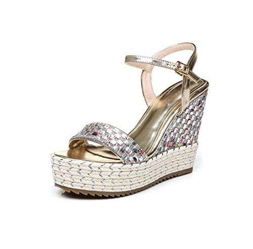 Color Wedges Braided 35 Gold Shoes Size Thick Women Gold Ankle Dream Sandals Sandals Elegant X4TwETWqv
