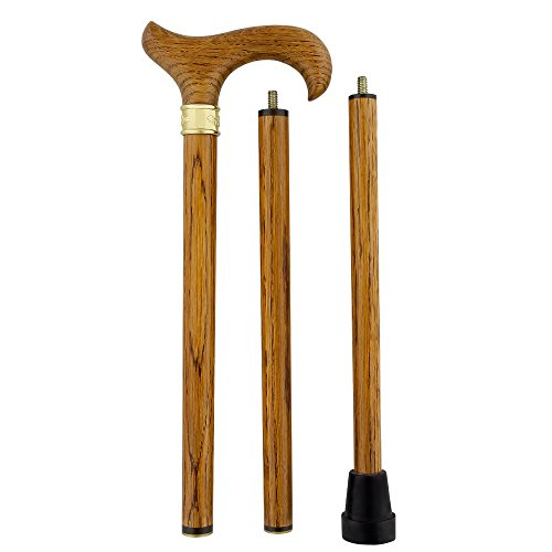 - Genuine Oak Wood Derby 3 piece Walking Cane and Brass Embossed Collar