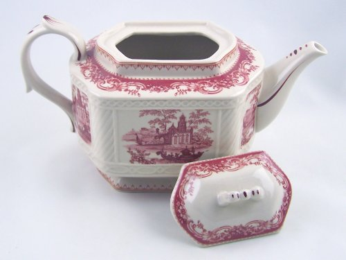 Red Toile Teapot - Classic Red French Toile Teapot - Premium Fine China - Castles and Scroll