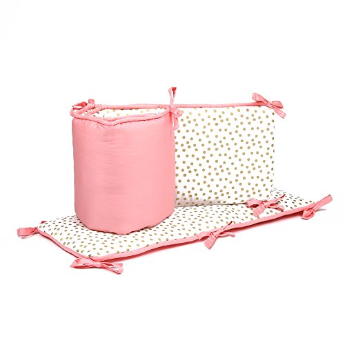 Gold Confetti Dot and Coral Pink Baby Crib Bumper by The Peanut Shell