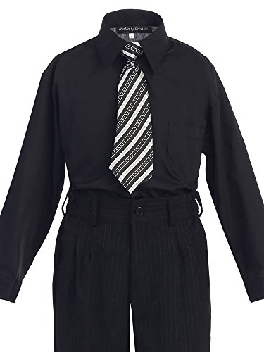 Bello Giovane Boys Dress Shirt with Tie Set Size 2T-20 (20, Black)