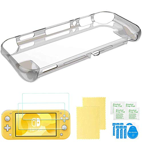 Cover Case for Nintendo Switch Lite, COMCOOL Protective Cover Case with 2-Pack Tempered Glass Screen Protector and 4 Thumb Grip for Nintendo Switch Mini