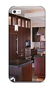 New Iphone 5c Case Cover Casing(contemporary Kitchen Featuring Island With Wine Storage)