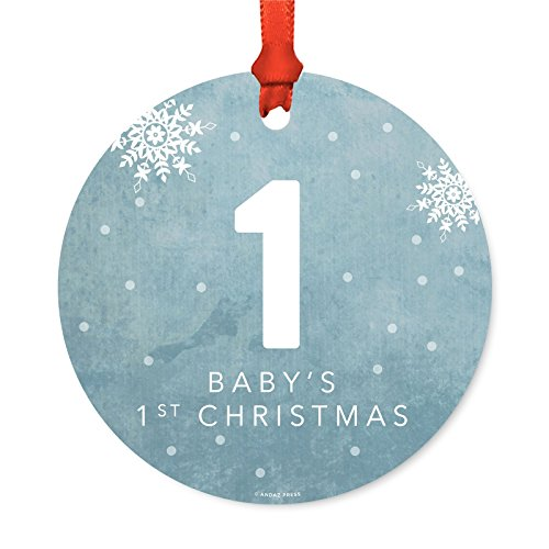 Andaz Press Family Christmas Ornament, Metal, Blue Winter Wonderland Monogram Number 1 Baby's First Christmas, 1-Pack, Includes Ribbon and Gift Bag -