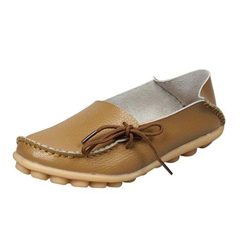 DENER Womens Ladies Girls Leather Loafers,Penny Wide Width Slip On Platform Office Casual Flat Boat Shoes (Khaki, 41) by DENER