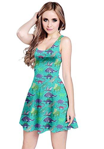 Tyrannosaurus Party Aqua CowCow Womens Dress 5XL Stylish XS Sleeveless Summer Dinosaur q74Ow46