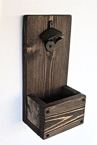 Dark Wood Rustic Bottle Opener with Cap Catcher