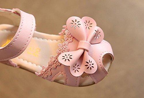 JIANGFU Spitze/Schleife/Prinzessin Sandalen, Kinder Mädchen Floral Sandalen Sneaker Lace Princess Casual Einzelne Schuhe Pink
