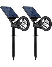 Solarmks Solar Lights, 4 LED Waterproof Solar Lights Outdoor Spotlights Adjustable Solar Landscape Lighting for Garden Pathway Patio Backyard Driveway 2 Pack