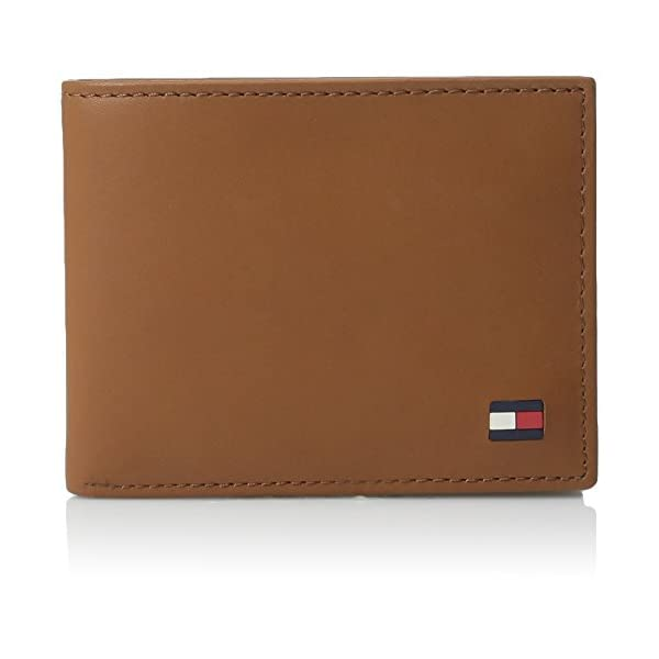 Tommy Hilfiger Men's Leather Wallet – Thin Sleek Casual Bifold with 6 Credit Card Pockets and Removable ID Window, British Tan