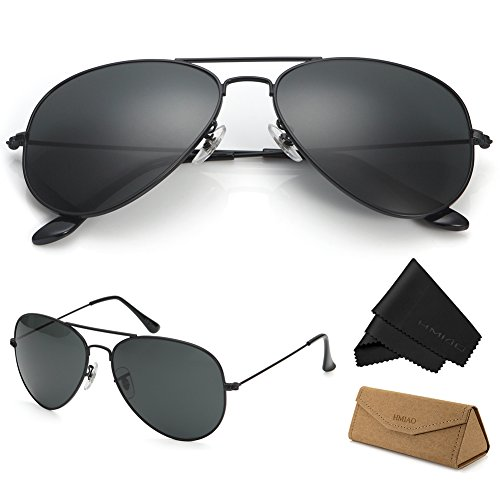 Aviator Sunglasses for Men Women,Flash Mirror Lens UV400 Sunglasses Eyewear with Sun Glasses Case (Black /Black Frame, - Non Polarized Sunglasses For Pilots