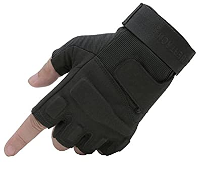 Seibertron Men's Black S.o.l.a.g. Special Ops 1/2 Finger Light Assault Gloves Tactical Fingerless Half Finger Gloves