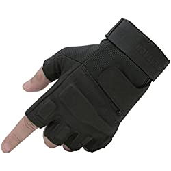 Seibertron Mens Black S.o.l.a.g. Special Ops 1/2 Finger Light Assault Gloves Tactical Fingerless Half Finger Gloves M