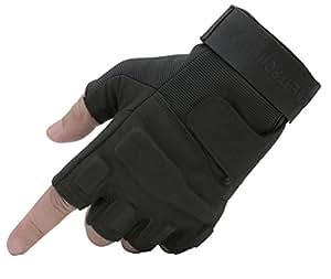 Seibertron Men's Black S.o.l.a.g. Special Ops 1/2 Finger Light Assault Gloves Tactical Fingerless Half Finger Gloves (black, XXS)