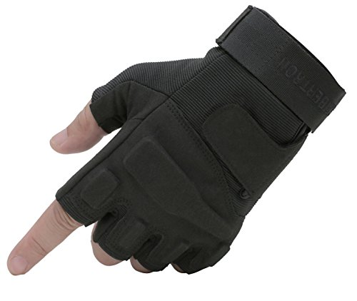 Seibertron S.O.L.A.G Special Ops/Operations 1/2 Finger Light Assault Gloves Tactical Fingerless Half Finger Gloves Black Adult/Youth (Black, Adult M)