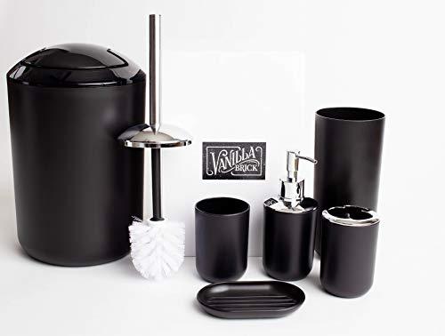 Vanilla Brick Bathroom Accessories Set, Soap Dispenser, Toothbrush Holder, Tumbler Cup, Soap Dish, Trash Can, Toilet…