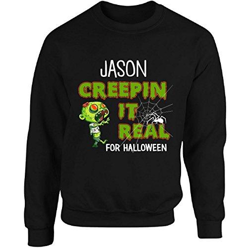 [Jason Creepin It Real Funny Halloween Costume Gift - Adult Sweatshirt M Black] (Jason's Girlfriend Costume)