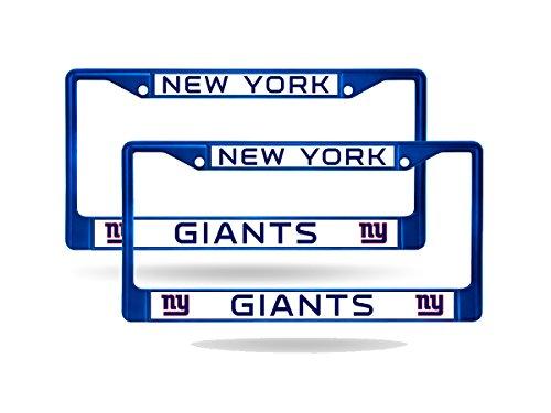 Rico New York Giants Blue Painted Chrome Metal (2) License Plate Frame Set ()