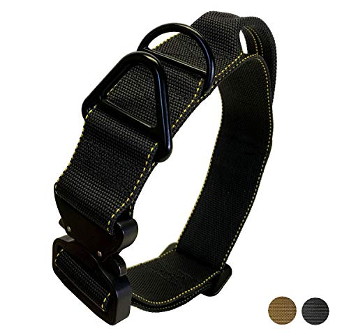 Miles Tactical K9 Cobra Dog Collar for Large Dogs Heavy Duty (Large with Handle, Black)