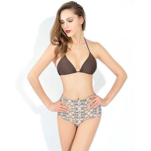 HHBO Mujeres bikini de talla alta con diseño retro picture color