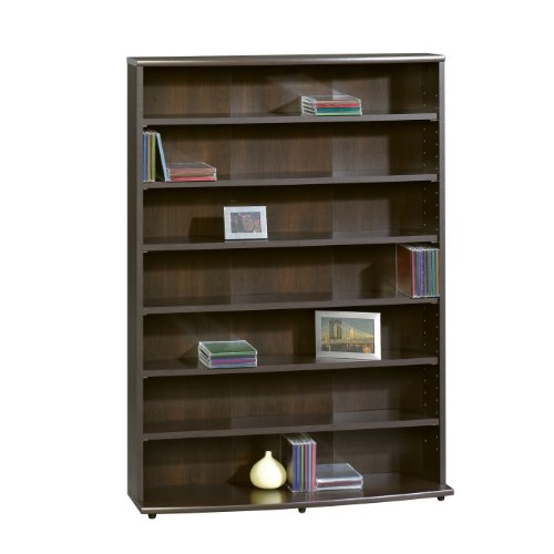 sauder-multimedia-storage-tower-cinnamon-cherry