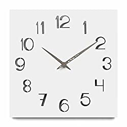 FlorLife 12 inch Simplicity Wooden Wall Clock, Silent Non Ticking Quality Quartz Battery Operated Numeral Design Simply White Country Style Decorative Square Clock