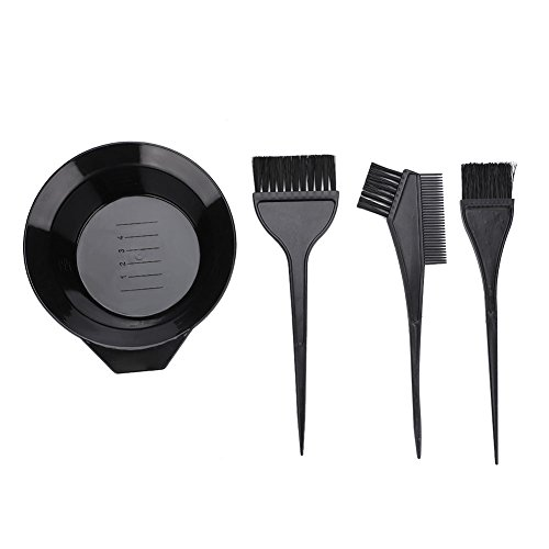 Hair Dye Tools, Hair Colouring Brush And Bowl Set 4Pcs Professional Hair Salon Dyeing Perming Tint Bleach Kit by ZJchao