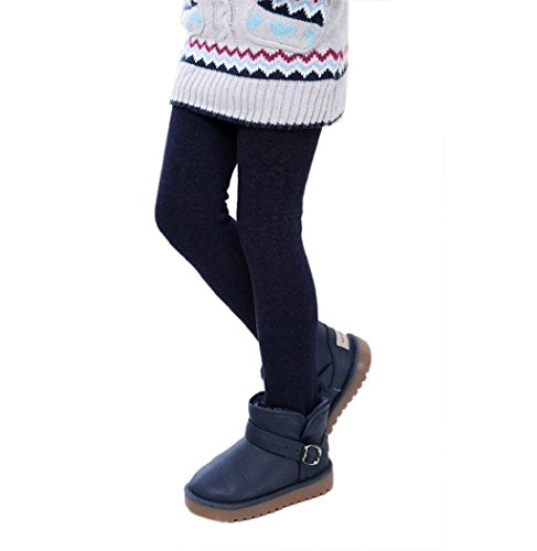 Sagton Fall Winter Kids Girls Pants Thick Warm Elastic Waist Leggings (2-5Years old, Navy)