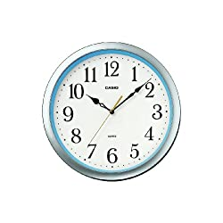 Casio smooth second hand analog wall clock IQ-48S-8JF Silver / Blue Round IQ-48S-8JF