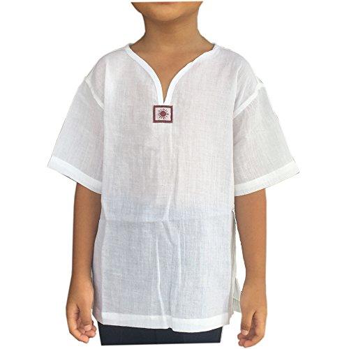 7972eb4e PJ White Yoga Shirt for Kid Short Sleeves V Neck - Casual Hippie  Renaissance (S