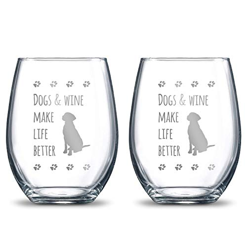 Dogs and Wine Make Life Better 21oz. Etched Stemless Wineglasses   2 Glass Set Packed in an Stylish Gift Box │ Premium Hand Etching   The Perfect Dog Lovers - Desk Set Dog